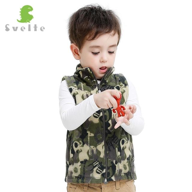 SVELTE Kids Children Boys Camouflage Fleece Vest Woolen Argyle Polar Fleese Waistcoat Clothes for Spring Autumn Winter