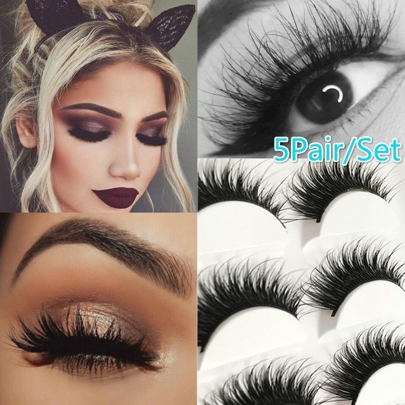 Black 5 Pairs Of Eyelashes Thick Fiber Natural False Eyelash Curl Eyelash Artificial Eyelash Extension Makeup Tools