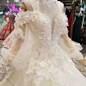 Image 3 - AIJINGYU Vegas Weddings Gray Gowns Muslim 2 In 1 White Informal Arabic Dreess Vintage Lace