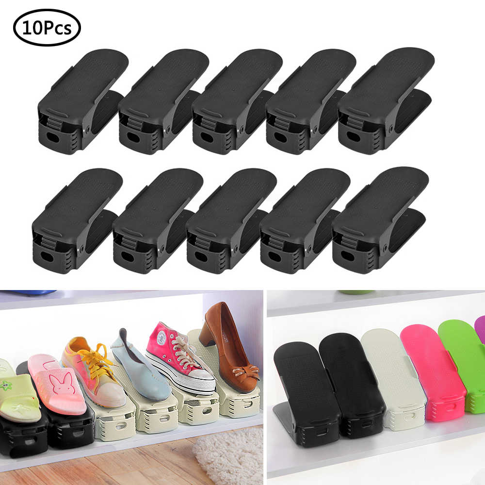 10pcs Plastic Shoes Rack Shleves 3 Levels Adjustable Shoe Holder Save Space Shoes Organizer  Double Stand Shelf for Living Room