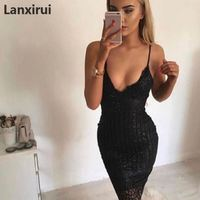 31bcde8dc8 Women Sexy Dresses Gold Sequins Women Bodycon Knee Length Dress Sleeveless  Strappy Party Slim Dress