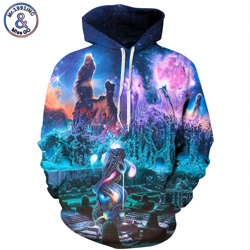 Mr.1991INC Europe and America Top Hot 3D Sky digital print Sweatshirts Men Hooded Hoodies Casual Pullovers men sweatshirt M144