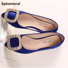 Ladies Pointed Toe Flats With Silk Stain Shoes Luxury Diamond Black American And European Style Plus Size For Width Foot 34 46
