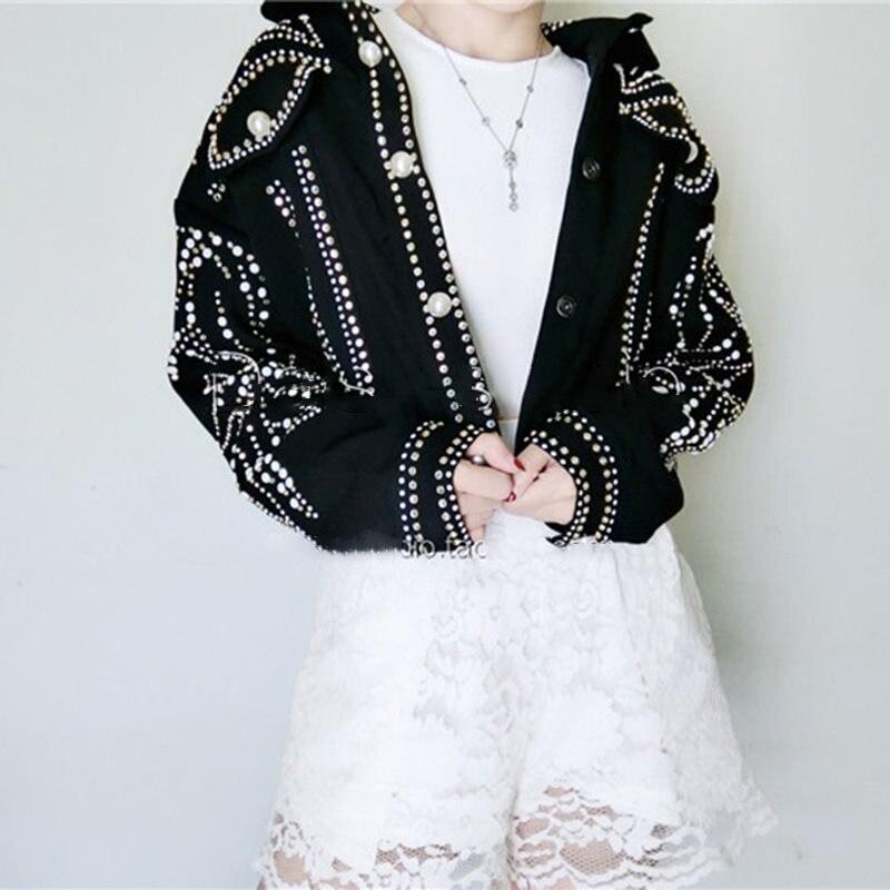 baseball luxus schwarz kurze jacke taschen winter schlank perlen basis stra niet 2019 bomber e frauen chic herbst UMSpVz