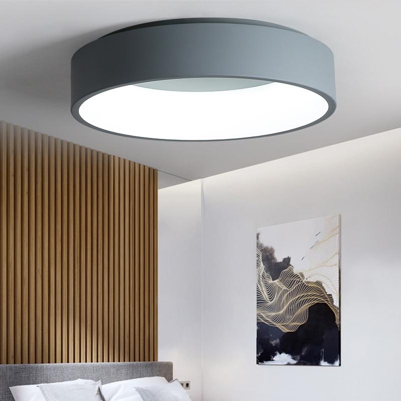 Negro/Blanco/gris minimalismo luces de techo LED modernas para sala de estar cama habitación lamparas de techo LED luz de la lámpara de accesorios