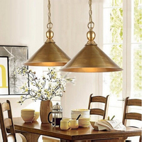 Pure Copper American Loft Style Vintage LED Pendant Lights Fixtures For Dining Room Simple Hanging Lamp