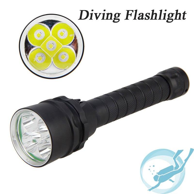 Underwater 100m Diving Flashlight 15000 Lumen 5x Cree XM-L L2 Dive Flash light diving light Lamp Torch for Outdoor Diving