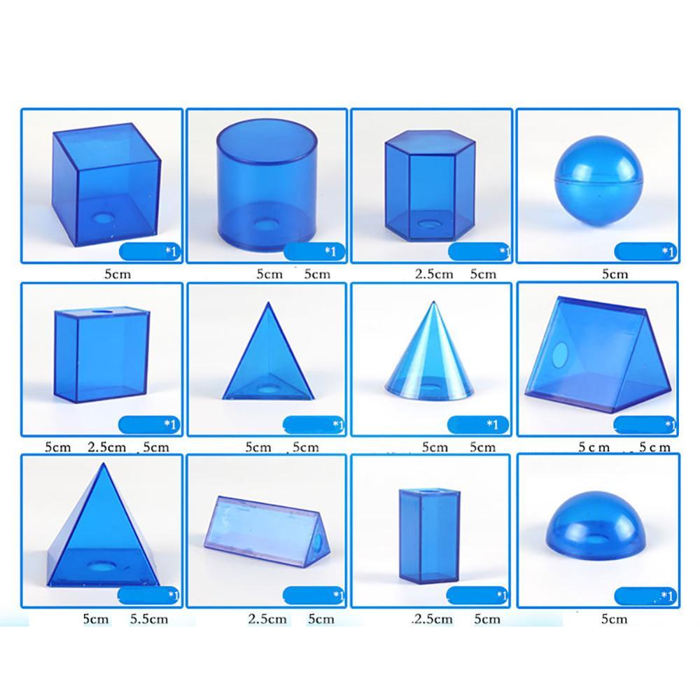 12Pcs/Set Transparent 3D Geometric Solids Model Detachable Teaching Visual Aids Volume Shape Toy Math Early Educational Student