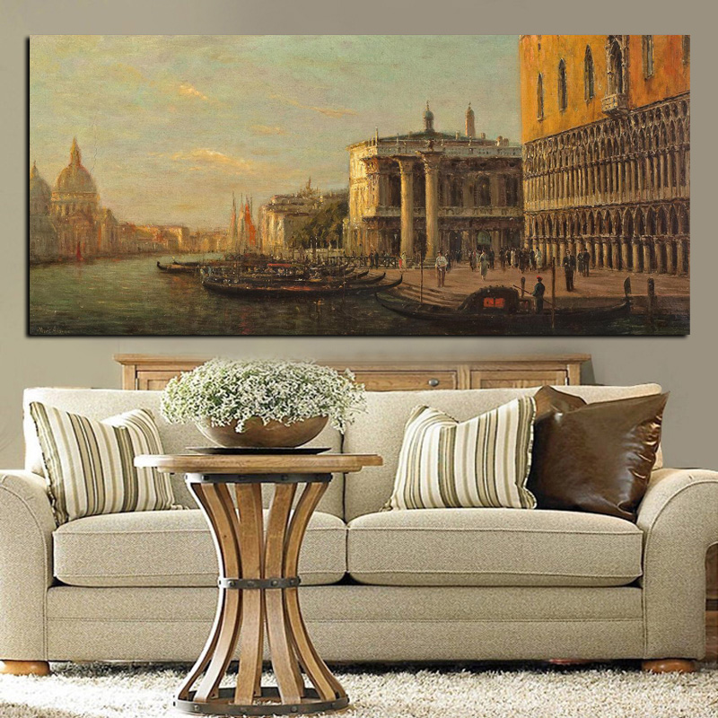Classic City Venice Seascape Oil Landscape Painting Print on Canvas Retro Wall Art Picture for Living Room Sofa Cuadros Decor