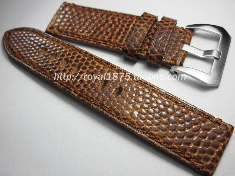 2019 nouvelle haute qualité lézard peau fait à la main 22mm bracelet Vintage en cuir véritable bracelet de montre bracelets pour homme marque montre