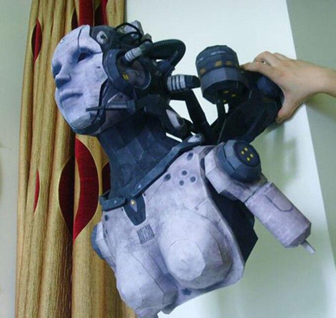 Papier 3D modèle Star Terran femme Adjutant modèle fait à la main bricolage fini taille 54 cm de haut papier jouets