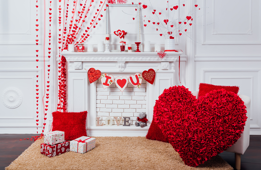 photography backdrop indoor pink lovely background heart love studio photo booth valentines day celebration XT-7552