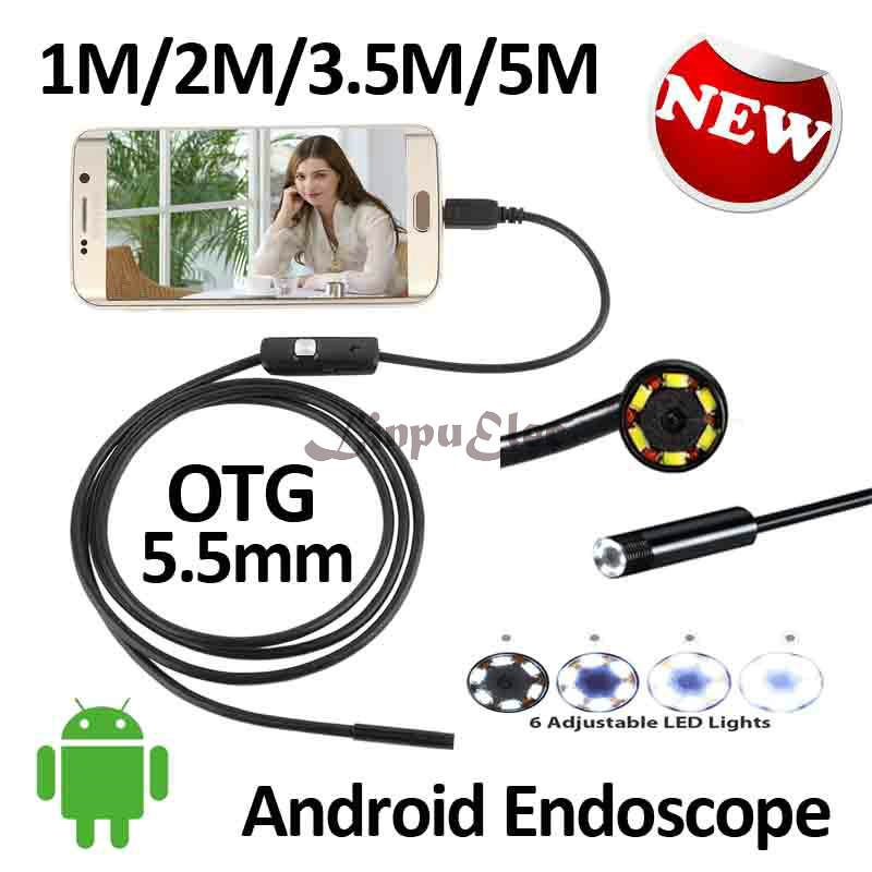 5.5mm Android USB Endoscope Camera 5M 3.5M 2M 1M Flexible Snake USB Inspection Borescope Smart Android Phone Camera 6LED 7mm 2in1 android pc usb endoscope camera 2m smart android phone otg usb borescope snake tube inspection came 6led