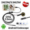 5.5mm Android USB Endoscope Camera 5M 3.5M 2M 1M Flexible Snake USB Inspection Borescope Smart Android Phone Camera 6LED