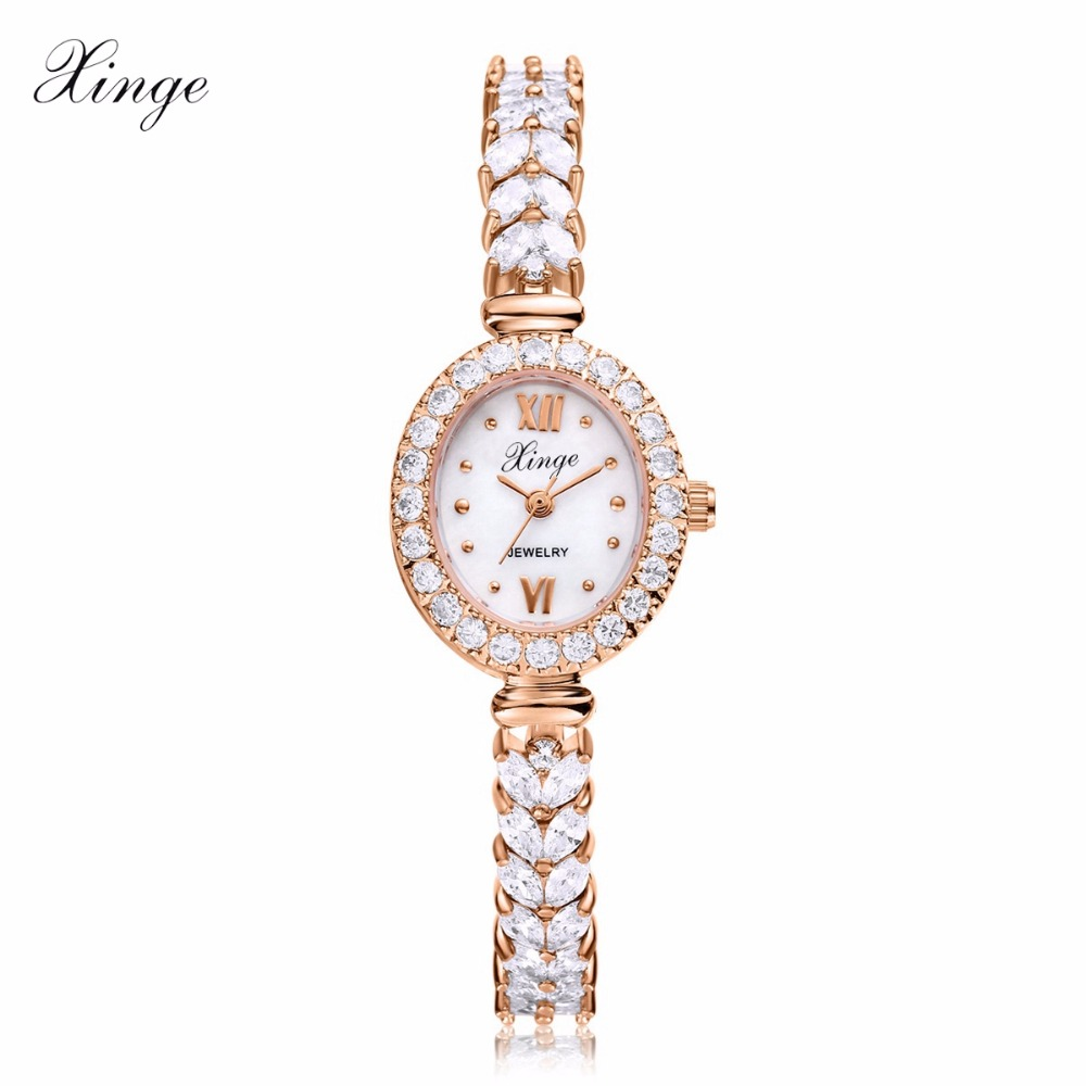 Xinge Luxury Women Rose Gold Watches Zircon Crystal Bracelet Watch Business Quartz Wristwatches Ladies Dress Fashion Wrist Watch 2016 luxury brand ladies quartz fashion new geneva watches women dress wristwatches rose gold bracelet watch free shipping