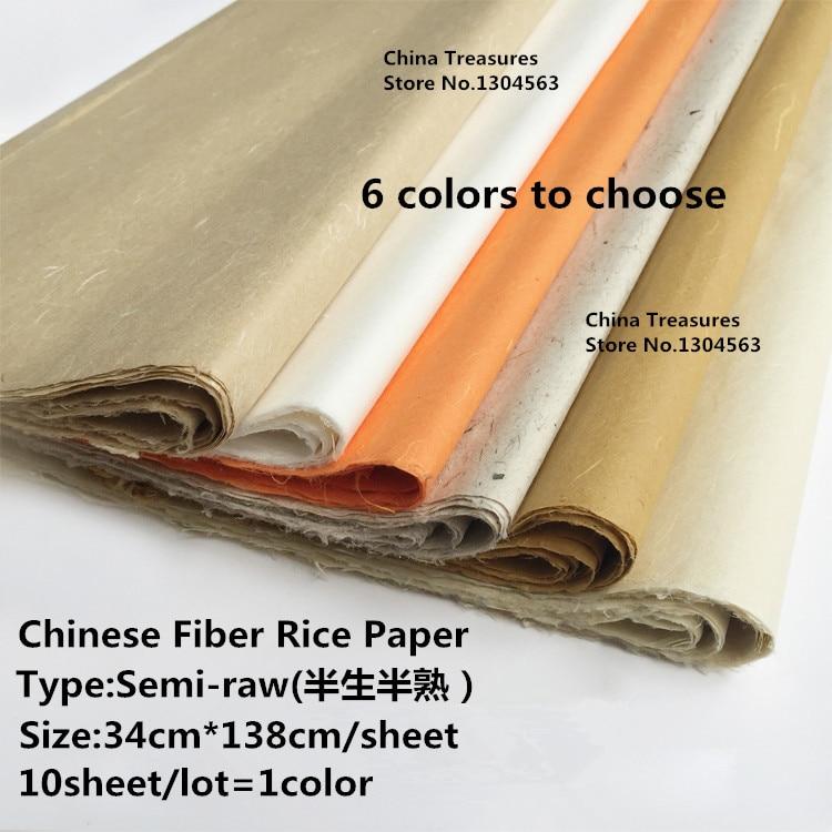 34cm*138cm*10sheets/lot Xuan Zhi Chinese Rice Paper Younlong Fiber Paper Ban Sheng Ban Shou