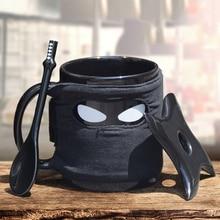 2016 heißer Kreative Schwarz Ninja Keramik Kaffeetassen Mit Löffel griff Untertasse Wasser Milch Porzellan Mighty Tassen Neue Jahr Lustige geschenk