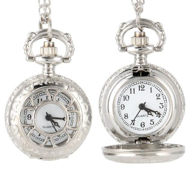 Fashion Vintage Women Quartz Pocket Watch Alloy Flowers Silver Hollow Out Lady G