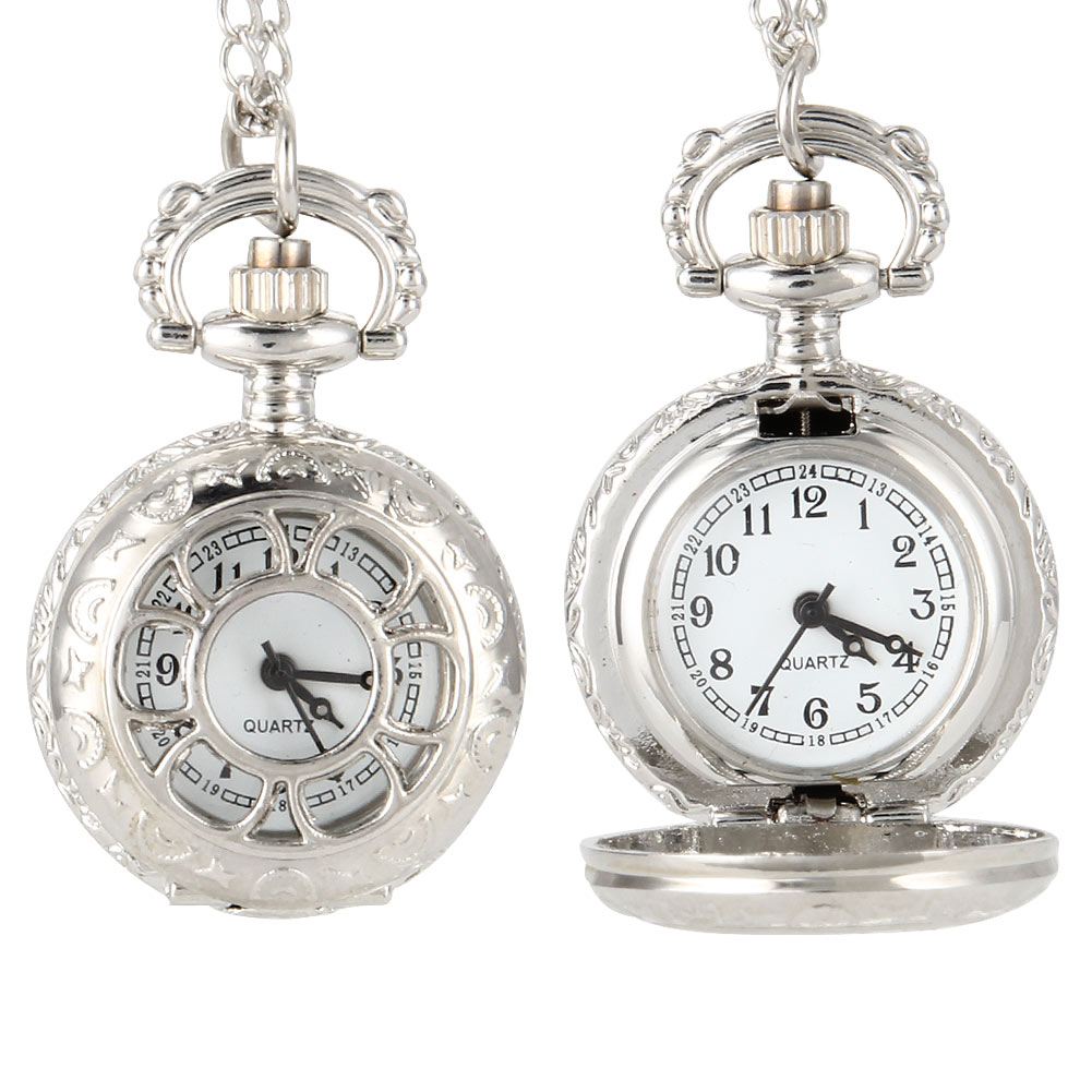 Vintage Women Quartz Pocket Watch Alloy Flowers Silver Color Hollow Out Lady Girl Sweater Chain Necklace Pendant Clock Gifts