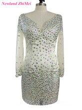Gran Diseño Rhinestones Vestido de Cóctel Caliente Mini Estilo V Cuello de Manga Larga de Partido de la Mujer Vestido de robe courte cóctel elegante
