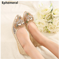Ladies Crystal Gold Silver Wedding Shoes For Women Dancing Ballroom Latin Ballerina Flat Slip On Soft