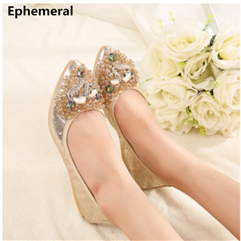 Ladies crystal gold silver wedding shoes for women dancing ballroom Latin ballerina flat slip on soft sole point toe max size 12 summer slip ons 45 46 9 women shoes for dancing pointed toe flats ballet ladies loafers soft sole low top gold silver black pink