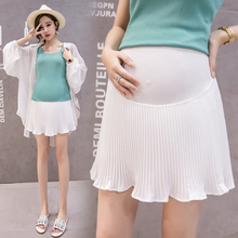 Chiffon Stomach Lift Elasticity High Waist Maternity Skirts Summer Casual Adjustable Breathable Pleated Pregnant Short
