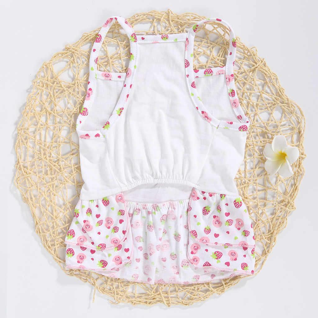 Transer собаки платье белый новый милый питомец летние и весенние дышащие с фруктовым принтом юбка Костюмы собак юбка Vestido Перро 19May7 P40
