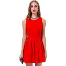 2016ฤดูร้อนของผู้หญิงแฟชั่นเซ็กซี่รอบคอเชือกแขวนคอแขนกุดชุดสีแดงvestido
