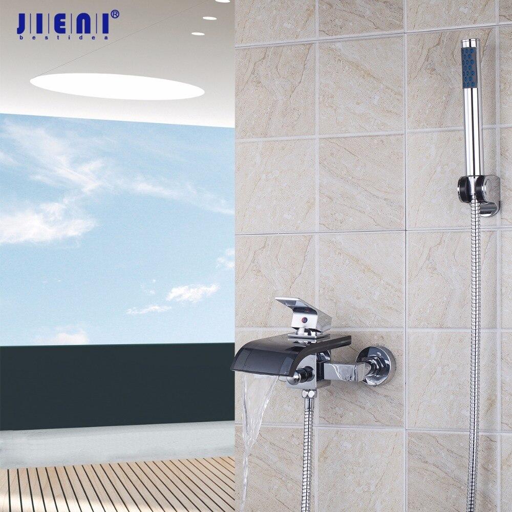 JIENI Black Glass Single Handle 2 Holes Bath wall mounted sink waterfall basin mixer tap shower