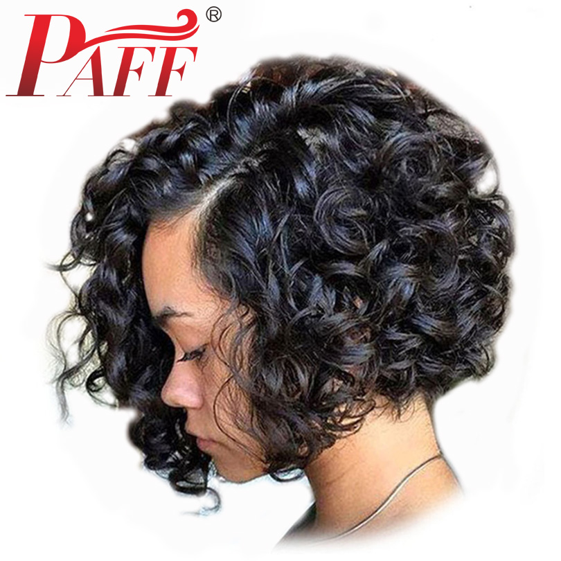 PAFF Short Curly Bob Full Lace Human Hair Wig 250 Density Side Part Natural Color Hair