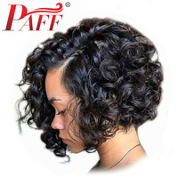 PAFF Short Curly Bob Full Lace Human Hair Wig 250% Density Side Part Natural Color Hair Wig Remy Brazilian Hair With Baby Hair