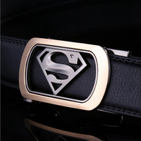 2016 Mens Luxury Brand Belt Business Belts Superman Automatic Buckle Genuine Leather Belt Men Accessories Casual