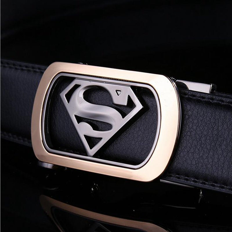 Mens Luxury Brand Belt Business Belts Superman Automatic Buckle Genuine Leather Belt Men Accessories Casual Waist Belt New