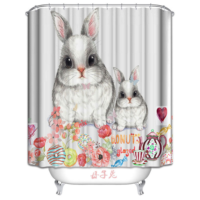 Mother And Son Rabbit Polyester Fabric Shower Curtain Waterproof Home Bathroom Curtains Bath Crutain For The