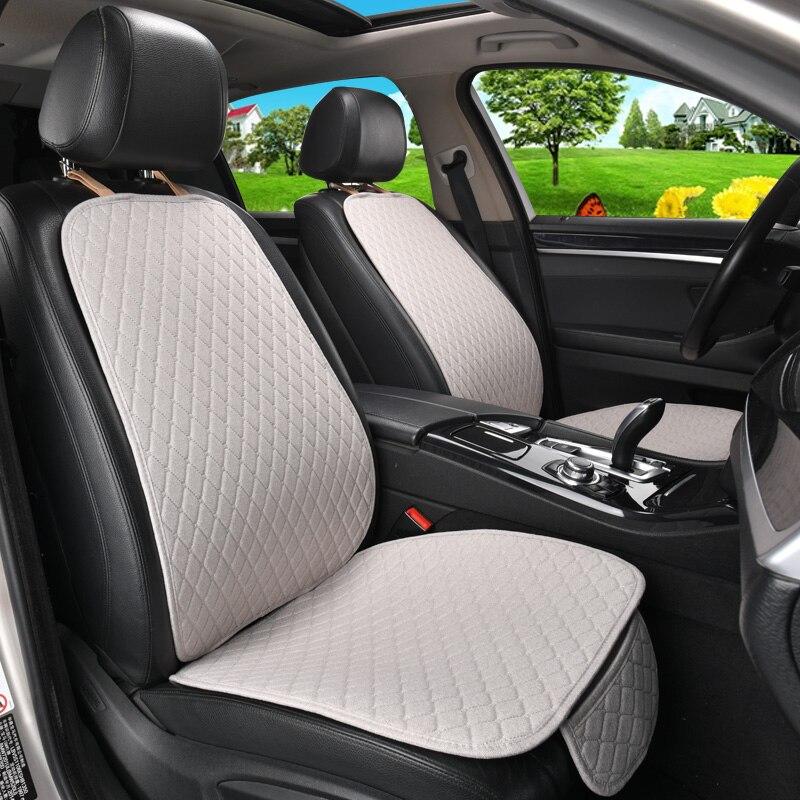 5 sièges housse de siège de voiture en lin protecteur avec dossier avant arrière siège arrière taille de coussin lavable tapis pour Auto - 4