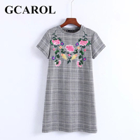 GCAROL New Arrival Embroidered Floral Plaid Women Dress British Style Mini Dress High Quality Vintage Female Dress