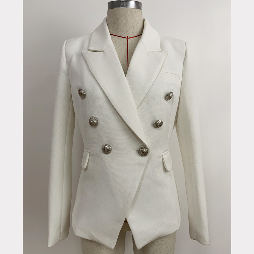New arrival 2019 spring autumn women white blazer coat Chic OL elegant double-breasted jackets A498