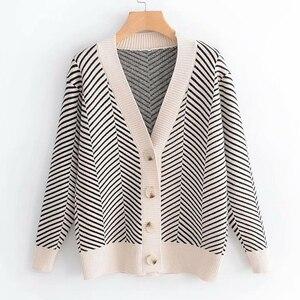 Image 4 - 2020 jesienny damski nowy sweter koreański wersja luźne paski rozpinany sweter z długimi rękawami dekolt w szpic uniwersalna kurtka