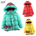 2017 Casual Children Coat Bow Baby Girls winter Coats kids long sleeve Overcoat girl's warm jacket Outerwear Thick girls Outwear