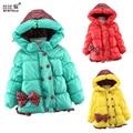 2017 Niños Ocasional Abrigo Arco de los Bebés de invierno Abrigo chaqueta caliente de la muchacha de manga larga para niños Abrigos prendas de Vestir Exteriores Gruesa niñas Outwear