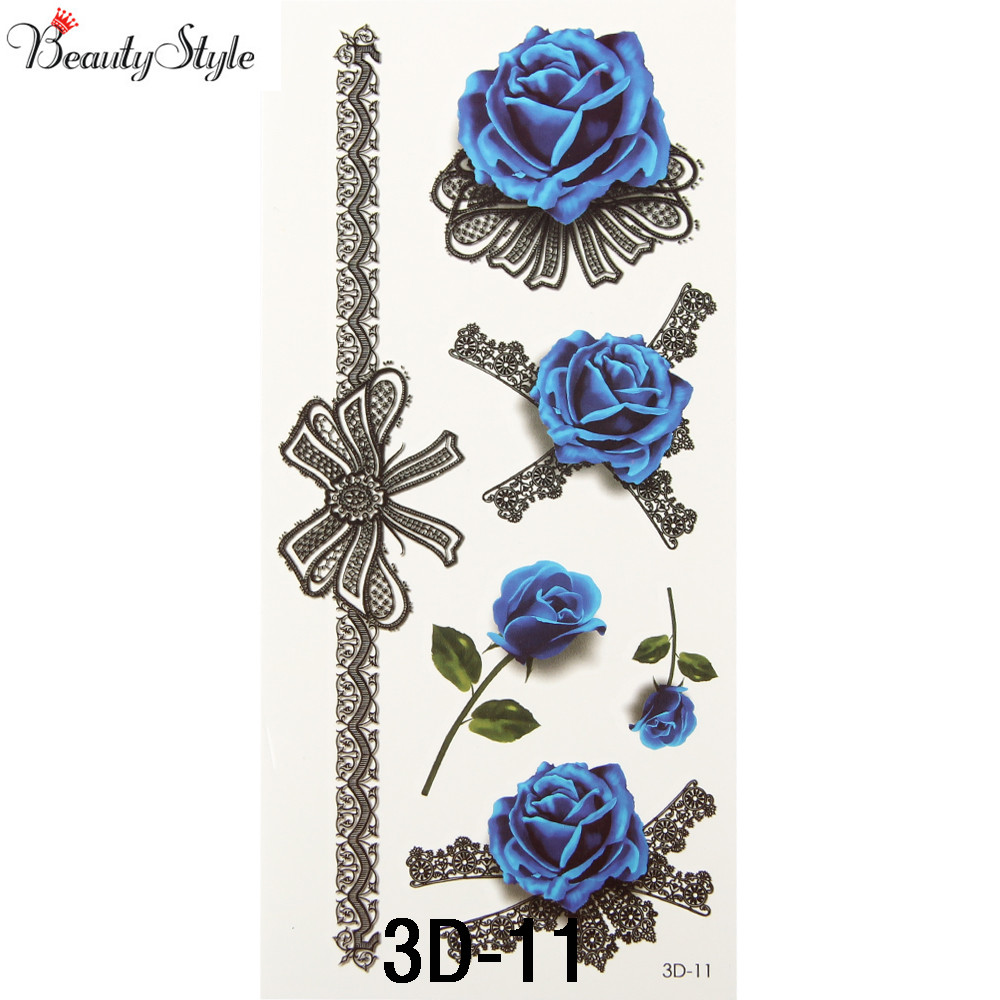 10pcs 3d colorful waterproof body art sleeve diy stickers glitter 10pcs 3d colorful waterproof body art sleeve diy stickers glitter temporary tattoos fake flower blue rose for body leg painting in temporary tattoos from izmirmasajfo
