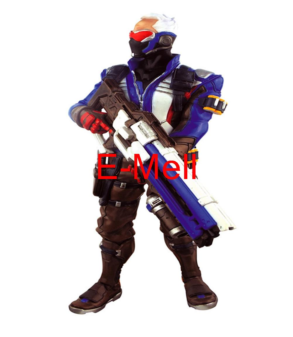Hot game Owatch Cosplay soldiers 76  Blue PVC Garage Kits Action Figures Model Toys ancient knight 28pcs set soldiers and horses medieval model toy soldiers figures