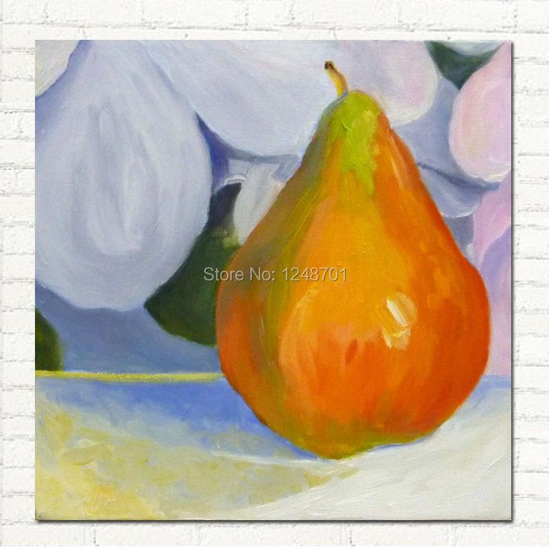 Peint à la main moderne nature morte peinture à l'huile or poire photo mur art sur toile pour la décoration de la maison