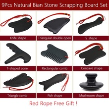 9Pcs Natural Bian Stone Scrapping Plate Massager Gua Sha Board Set Chinese Traditional Needle Physiotherapy Massage Tool