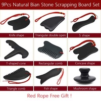 9Pcs Natural Bian Stone Scrapping Plate Massager Gua Sha Board Set Chinese Traditional Stone Needle Physiotherapy Massage Tool
