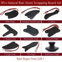 9Pcs Natural Bian Stone Scrapping Plate Massager Gua Sha Board Set Chinese Traditional Stone Needle Physiotherapy Massage Tool