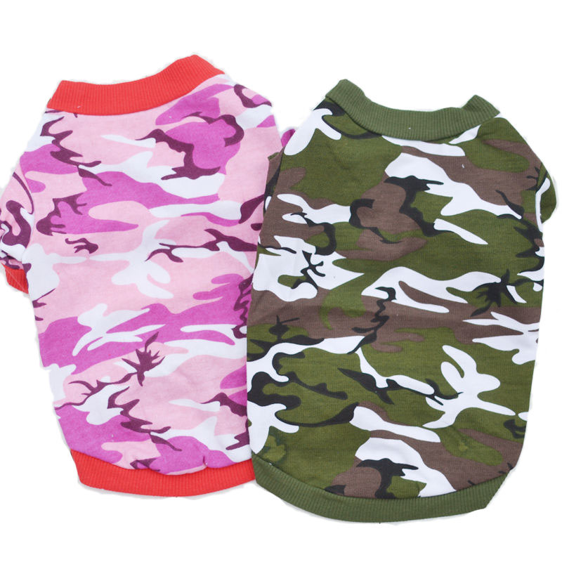Spring And Summer Pet Clothes Fashion Camouflage Small Dog Shirt T-shirt Cotton Puppy Hoody Pullover Chihuahua Terrier Sweater