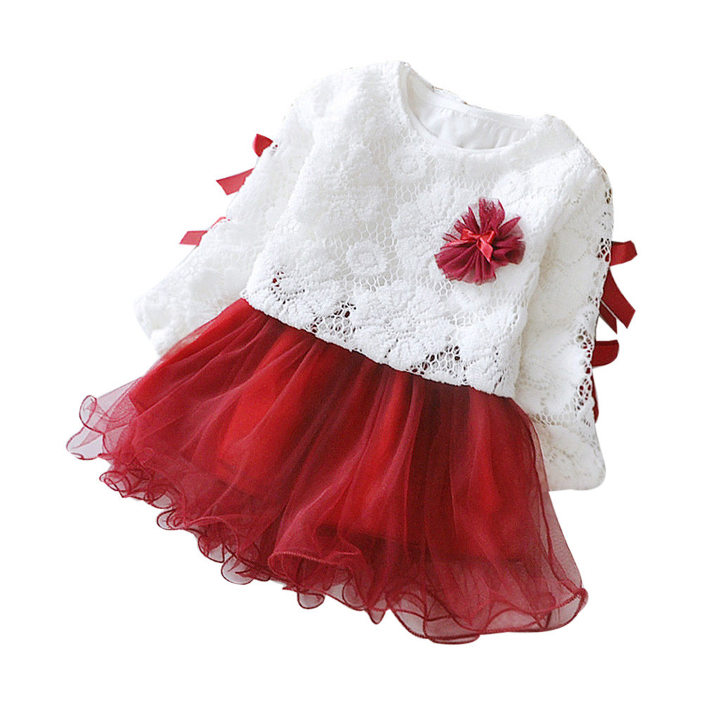 Outfits Dresses Girls Winter Clothing Flower Party Princess Lace for Autumn Children title=