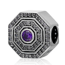 Fits Pandora Bracelets White and purple zircon gossip Charms Silver beads 925 Sterling Silver jewelry DIY making wholesale